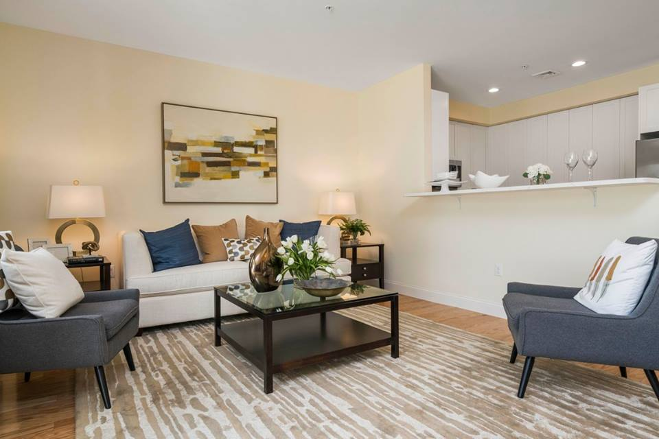 Staged Living Room Photograph of Model Unit at Endicott Woods in Norwood MA