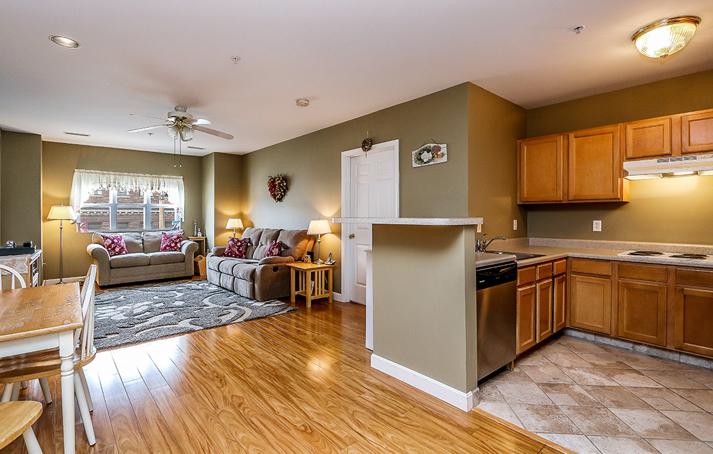 Interior photograph of open floor plan at 211 Central Street in Norwood