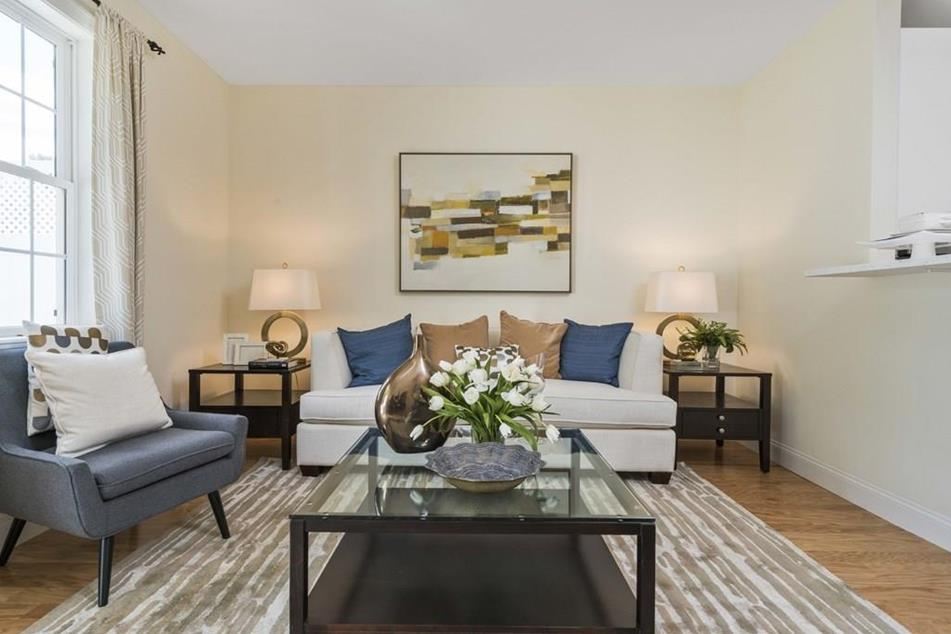 Interior photograph of living room at Endicott Woods in Norwood MA