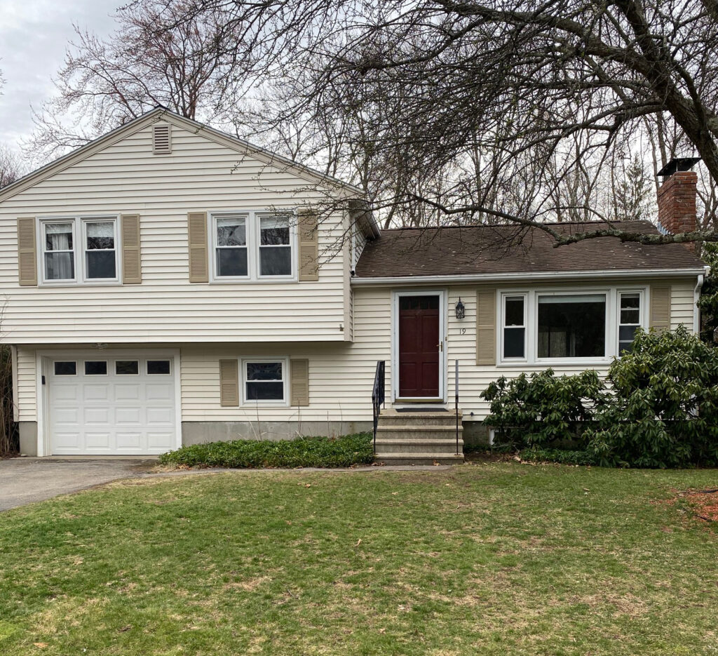 Front exterior photograph of 19 Longmeadow Road, Medfield MA