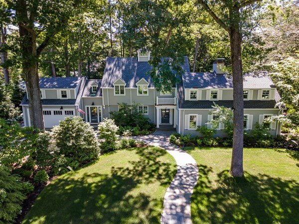 Aerial View of 30 Whiting Road, Wellesley MA